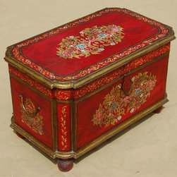 Hand Painted Rare Ethnic Storage Trunk Toy Coffee Table - Gorgeous Hand Painted Solid Indian Rosewood Storage Trunk that has the versatility to be used as a Coffee Table.