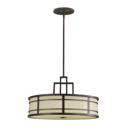 Murray Feiss - Murray Feiss Fusion Drum Shade Pendant Light in Grecian Bronze - Shown in picture: Fusion Chandelier - Uplight in Grecian Bronze finish with Amber Ribbed Glass Shade