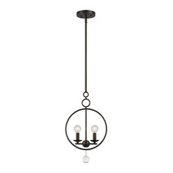 """Crystorama Cameron 2-Light 19"""" English Bronze Mini Pendant - You can see arts and crafts influence in our Cameron collection, but other details are inspired by more home design trends - sleek shapes and geometric motifs."""