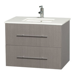 "30"" Single Bathroom Vanity for Undermount Sink in Gray Oak, Stone Countertop - Simplicity and elegance combine in the perfect lines of the Centra vanity by the Wyndham Collection. If cutting-edge contemporary design is your style then the Centra vanity is for you - modern, chic and built to last a lifetime. Available with green glass, pure white man-made stone, ivory marble or white carrera marble counters, with stunning vessel or undermount sink(s) and matching mirror(s). Featuring soft close door hinges, drawer glides, and meticulously finished with brushed chrome hardware. The attention to detail on this beautiful vanity is second to none."