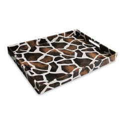 Jay Import Co. Inc. - Giraffe Patterned Leather Serving Tray - A little exotic style for your table.