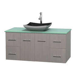 Wyndham Collection - 48 in. Single Bathroom Vanity in Gray Oak, Green Glass Countertop, Altair Black - Simplicity and elegance combine in the perfect lines of the Centra vanity by the Wyndham Collection . If cutting-edge contemporary design is your style then the Centra vanity is for you - modern, chic and built to last a lifetime. Available with green glass, pure white man-made stone, ivory marble or white carrera marble counters, with stunning vessel or undermount sink(s) and matching mirror(s). Featuring soft close door hinges, drawer glides, and meticulously finished with brushed chrome hardware. The attention to detail on this beautiful vanity is second to none.