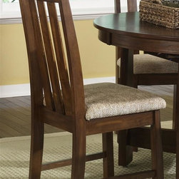 Liberty Furniture - Urban Mission Upholstered Side Chair - Set of 2 - Set of 2. Nylon glides. Generously padded upholstered seats. Warranty: One year. Made from select hardwoods and oak veneers. Dark mission oak finish. Made in Malaysia. 21 in. W x 18 in. D x 42 in. H (23 lbs.)