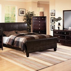 Crown Mark - 5-PC Tomas Dark Espresso Queen Bedroom Set w/ Bycast Leather HB and - Contemporary Style