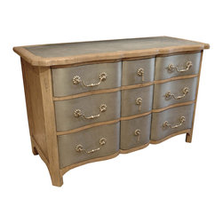 Kathy Kuo Home - Zinc Reclaimed Wood Hollywood Regency 9 Drawer Dresser - Hollywood called and you answered the phone! There is nothing ordinary about his nine-drawer dresser fit for a screen queen. The reclaimed wood dresser is finished in antique zinc and stain resistant, reclaimed pine finish. The handles and drawer pulls are antique silver. Used either as a sideboard in your dining room or a dresser in your bedroom, this piece will amp up your decor.