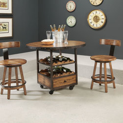 American Drew 114-706R Americana Home High Dining Table - American Drew 114-706R Americana Home High Dining Table Sku: 114-706RManufacturer: American DrewCollection: Americana Home Series Finish: Warm Khaki Oak Select Items: Weathered White Series Code: 114Product Code: 706RParent Product: 706R Weight: 131Cubes: 18.2C Width: 0C Depth: 0C Height: 0Product Width: 44Product Depth: 44Product Height: 36.5Notes: Consists Of:706B High Dining Table Base-Rustic Dark OakW22 D22 H36Wt. 80 Cubes 12.7706T High Dining Table TopW44 D30 H2Wt. 51 Cubes 5.5Consists of:706T Top and 706B BaseStemware Holder underneath top2 Fixed shelves with Wine Storage1 DrawerCastersUse with 692 Stool