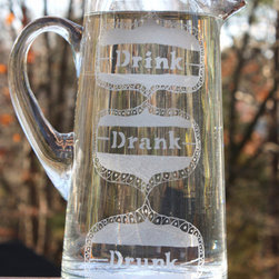 Drink Drank Drunk Etched Glass Pitcher by Milk & Honey Luxuries - I love this fun and quirky pitcher. Use it to serve your favorite beer or signature drink.