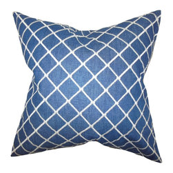 """The Pillow Collection - Afia Geometric Pillow Blue 18"""" x 18"""" - Create a modern and sleek look to your interior with this accent pillow. This throw pillow features a geometric pattern in white against a blue background. This square pillow is ideal for indoor use and perfect for your living room, bedroom or lounge area. Made of 100% high-quality denim material."""