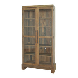 Four Hands - Camino Bookcase - Bring the style and spirit of the West to your home with this tall, impressive bookcase. Made of salvaged pine and given a natural finish, this glass-fronted piece holds books and displays cherished objects with easy elegance.