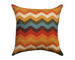 Land of Pillows - Waverly Panama Wave Adobe Decorative Zig Zag Chevron Stripe Throw Pillow, 16x16 - Fabric Designer - Waverly