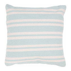 "Jaipur Rugs - Jaipur Swing Handmade Cotton Blue Ice/Ice White Pillow (18"" x 18"") - Santorini are flatweave dhurri styled pillows in pastels and bright colors to liven any decor. Jaipur Swing Handmade Cotton Blue/Ivory Pillow (18""x18"") SAI13. India. 100% Cotton"