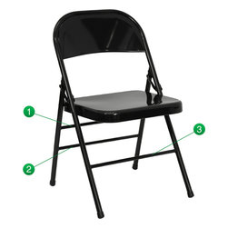 Flash Furniture - HERCULES Series Triple Braced & Quad Hinged Black Metal Folding Chair - When in need of temporary seating this heavy duty all steel black metal chair by Flash Furniture is perfect. This portable folding chair can be used for Parties, Graduations, Sporting Events, School Functions and in the Classroom. This chair will be the perfect addition in the home when in need of extra seating to accommodate guests. The chair will not take up anywhere near as much space as chairs that cannot fold when it comes time to clean up. This economically priced chair will endure some heavy usage with an 18-gauge steel frame, triple braced and leg strengthening support bars.