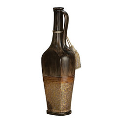 Howard Elliott - Antique Black Vase with Tassel - This short vase features an elongated shape that is finished in a distressed antique black which give the piece a faux wooden look. It is characterized by a crackled gold overlay and is embellished by gold tassels.