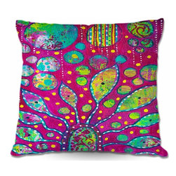 DiaNoche Designs - Pillow Linen - Flower Power - Add a little texture and style to your decor with our Woven Linen throw pillows. The material has a smooth boxy weave and each pillow is machine loomed, then printed and sewn in the USA.  100% smooth poly with cushy supportive pillow insert with a hidden zip closure. Dye Sublimation printing adheres the ink to the material for long life and durability. Double Sided Print, machine wash upon arrival for maximum softness. Product may vary slightly from image.