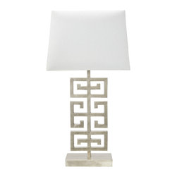 Worlds Away - Worlds Away Asian Inspired Silver Leaf Table Lamp JASPER S - Asian inspired silver leaf table lamp with white linen shade. Ul approved for one 60 watt bulb