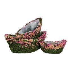 3PC Basket Pink Moss Decoration - 3 piece moss basket with pink flower decor