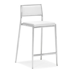 Zuo Modern - Zuo Dolemite Counter Chair in White [Set of 2] - Counter Chair in White belongs to Dolemite Collection by Zuo Modern Stand out with our Dolemite counter chair. The sleek design comes in black or white leatherette on a stainless steel base. Counter Chair (2)