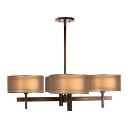 Fine Art Lamps - Quadralli Gold Chandelier, 436540ST - Straight, clean modern lines give this chandelier a masculine elegance. The four-arm metal candelabra is crowned with four low-profile cylindrical shades in a square formation. Each hand-tailored shade features an ivory crepe interior suspended within a sheer organza screen, giving the lanterns a unique, diffused radiance.