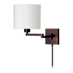 Dainolite - 1Light Cast Metal Swing Arm Lamp, White Tapered Drum Shade - -Main Body Material: Steel