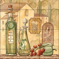 The Tile Mural Store (USA) - Tile Mural - Tuscany Iii  - Kitchen Backsplash Ideas - This beautiful artwork by Charlene Audrey has been digitally reproduced for tiles and depicts a nice Italian olive oil scene.  Our decorative tiles with wine are perfect to use for your kitchen backsplash tile project. A wine tile mural adds elegance and interest to your kitchen wall tile area and makes a wonderful kitchen backsplash idea. Pictures of wine on tiles and images of wines bottles on tiles and wine glasses on tiles is timeless and these decorative tiles of wine blend with any decor. Your kitchen will come to life with a tile mural featuring wine.