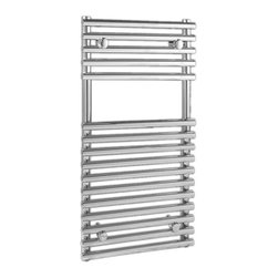Hudson Reed - Flat Chrome Bar on Bar Towel Rail 30 inches x 18 inches. - This Flat Bar on Bar Towel Rail, with a high quality chrome finish, produces a heat output of 245 Watts (835 BTUs), enough to keep your towels warm and heat a small bathroom or cloakroom.Supplied complete with a fixing pack for wall mounting, this minimalist towel rail has 16 projecting rungs, which allow you to hang towels and small items of clothing more easily. As well as being functional, the bar-on-bar towel rail is makes a striking focal point for any modern bathroom, en-suite or cloakroom. Suitable for all household heating systems, the 30 x 18 Kudox Heated Towel Rail connects to your heating system via the radiator valves included. Kudox Flat Chrome Bar on Bar Towel Rail 30 x 18 Details   Dimensions: (H x W) 30 (750mm) x 18 (450mm) Output: 245 Watts (835BTUs) Number of cross-bars: 16 with a diameter of 0.86 (22mm), divided into 2 sections of 5 and 11 Pipe Centres: 16 (405mm) Fixing Pack Included Suitable for bathroom, cloakroom, kitchen etc. Expertly plated with high quality 62.5 micron chrome on copper plated mild steel, with swagged oven brazed joints. Tested to BS EN442 - 145 psi maximum working pressure 5 Year Guarantee (12 months for surface finish) Please note: Radiator valves are included, please choose either straight or angled radiator valves. Please Note: Our radiators are designed for forced circulation closed loop systems only. They are not compatible with open loop, gravity hot water or steam systems.     Buy now, to transform your bathroom decor, at an affordable price.