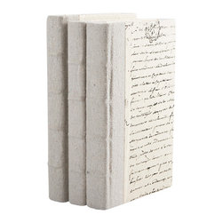Go Home - Recycled Canvas-Gray Books-set of 3 - With beautiful texture and old-world craftsmanship, these gray recycled books offer a time-worn choice to dress your shelves or coffee table. Classic raised bands on the spine give it a lovely detailed look. Sizes vary.