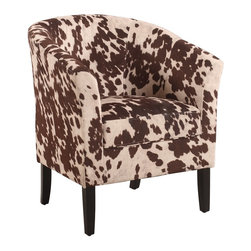Linon Home Decor - Linon Home Decor Accent Chair X-U-SA-10-MU77063 - Enhance the look of any room with the bold Udder Madness Simon Club Chair. Perfect for adding a fun seating option to your space, the chair is upholstered in a brown cow print fabric. Sturdy and durable for lasting comfort.