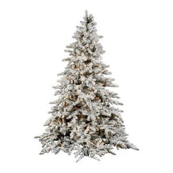Utica Flocked Pre-lit Christmas Tree - The Utica Flocked Pre-lit Christmas Tree is a gorgeous white Christmas tree designed as a fir tree with real-like snow laden branches. The Utica Flocked Pre-lit Christmas Tree comes in five sizes with pre-lit clear white color bulbs along with an extra strand of lights. Its height ranges from 7.5 ft to 14 ft and the base width ranges from 65 inches to 96 inches. The PVC construction makes it strong and durable while the sturdy four-legged stand makes the tree stable. It can be assembled and repacked easily for future use. Specifications for a 7.5 foot TreeShape: MediumBase Width: 65 inchesNumber of Bulbs: 850Number of Tips: 1650Specifications for a 9 foot TreeShape: MediumBase Width: 72 inchesNumber of Bulbs: 1200 Number of Tips: 2443Specifications for a 10 foot TreeShape: MediumBase Width: 77 inchesNumber of Bulbs: 1450Number of Tips: 3083Specifications for a 12 foot TreeShape: MediumBase Width: 87 inchesNumber of Bulbs: 2150Number of Tips: 4768Specifications for a 14 foot TreeShape: MediumBase Width: 96 inchesNumber of Bulbs: 3050Number of Tips: 6947