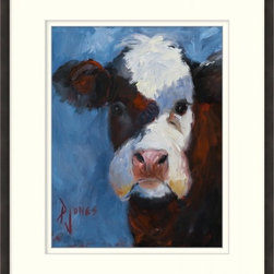 Wendover Art - Lavender Cow - This striking Giclee on Paper print adds subtle style to any space. A beautifully framed piece of art has a huge impact on a room for relatively low cost! Many designers and home owners select art first and plan decor around it or you can add artwork to your space as a finishing touch. This spectacular print really draws your eye and can create a focal point over a piece of furniture or above a mantel. In a large room or on a large wall, combine multiple works of art to in the same style or color range to create a cohesive and stylish space! This striking image is beautifully framed in rich espresso.