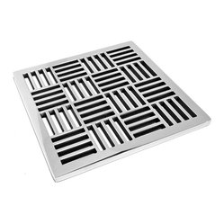 Designer Drain - Geometric Pattern No. 6 - Don't let your attention to detail go down the drain. This impressive graphic piece of polished stainless steel is the perfect touch to a precisely designed bath. Drain sizes vary. Please measure carefully before ordering.