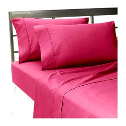 Hothaat - 400TC Solid Pink Queen Fitted Sheet & 2 Pillowcases - Redefine your everyday elegance with these luxuriously super soft Fitted Sheet. This is 100% Egyptian Cotton Superior quality Fitted Sheet that are truly worthy of a classy and elegant look.