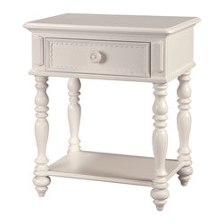 Lea Industries - Lea Hannah Nightstand in White - Cool, casual and a little bit romantic, this nightstand is perfect for your best girl. The soft curves and scalloped details give it a feminine, not fussy, vibe — in fact, it's grown-up enough to work in a guest bedroom too.