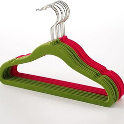 Home Decorators Collection - Kids Felt Hanger - Set of 10 - The bright colors of our Kids Felt Hangers will bring fun to your child's closet organization. Sized for children's clothing, these hangers will hold light clothing like jackets, shirts and dresses. Children's size hangers with slim, space-saving profile. Plastic frame with long metal hook. Non-slip felt in fun, bright colors. Shoulder notches.