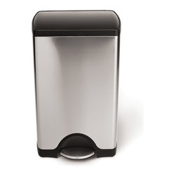 simplehuman - Simplehuman 10-gal Brushed Steel Step Trash Can - This rectangular step trash can is designed for superior durability and strength with a plastic lid and a durable, all steel pedal. The space-efficient shape and internal hinge allow this trash can to fit in tight corners or close against the wall.