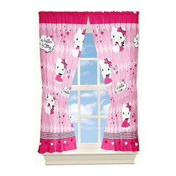 Hello Kitty Sweet and Sassy Window Drapes - Start the day bright and happy with these Hello Kitty window drapes. The set comes with two curtains and tiebacks and features a pole-top pocket design.
