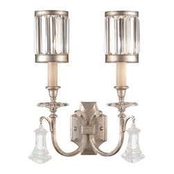 Fine Art Lamps - Eaton Place Silver Sconce, 583050-2ST - Why simply decorate when you can scintillate? Bring sparkle to your favorite setting with this wall sconce featuring faceted channel-set crystal shades and brilliant pendant accents.