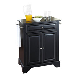 Crosley Furniture - Crosley Furniture LaFayette Solid Black Granite Top Kitchen Island - Crosley Furniture - Kitchen Carts - KF30024BBK - Constructed of solid hardwood and wood veneers this kitchen island is designed for longevity. The beautiful raised panel doors and drawer front provide the ultimate in style to dress up your kitchen. The deep drawer are great for anything from utensils to storage containers. Behind the two doors you will find an adjustable shelf and an abundance of storage space for things that you prefer to be out of sight. Style function and quality make this kitchen island a wise addition to your home.