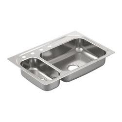 Moen - Moen 2000 Series 20 Gauge Stainless Steel Drop-In Double Bowl Sink (G202854) - Moen G202854 2000 Series 20 Gauge Stainless Steel Drop-In Double Bowl Sink with Left Prep Sink and Four Holes, Stainless