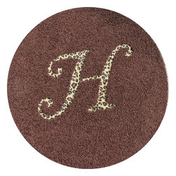 RR - Solid Round Rug with Animal Print Monogram - Solid Round Rug with Animal Print Monogram