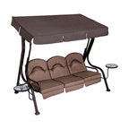 Living Accents - 3 Person Deluxe Swing With Movable Side Tables - Manufacturer No. - RUS4173G01