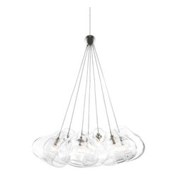 "Tech Lighting - Cheers Multi-Point Pendant by Tech Lighting - Add a cheerful contemporary element into a space with the Tech Lighting Cheers Multi-Point Pendant. It features seven clear glass globes with fused center tubes. These are suspended from one single hub for a truly multi-faceted effect in a rail system or all on its own. Also available as the single Cheer Pendant. For mounting options, see below.Tech Lighting, headquartered in Skokie, IL, is known for their innovative lighting systems and exquisite lighting designs. Their passion for art, sophistication and imagination is balanced by rigorous testing and quality control in the creation of their line-voltage and low-voltage lighting, including the Tech Lighting FreeJack and monorail systems and track heads.The Tech Lighting Cheers Multi-Point Pendant is available with the following:Details:7 Clear glass shadesCeiling canopy finish matches finish option selected72"" field-cuttable suspension cableLow-voltageETL ListedOptions:Finish: Antique Bronze, Chrome, or Satin Nickel (shown).Mounting: Freejack, Monopoint, Monorail, or Two-Circuit Monorail.Mounting Details:Freejack: See Related Items for mounting options.Monopoint: Includes one 4"" round flush canopy and low-voltage transformer.Monorail: Includes Freejack adaptor for Monorail installation.Two-Circuit Monorail: Includes Freejack adaptor for Two-Circuit Monorail installation.Lighting:Seven 10 Watt 12 Volt Bi-Pin Low-voltage Xenon lamps (included).Shipping:This item usually ships within 3 to 5 business days."