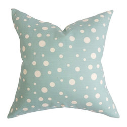 "The Pillow Collection - Bebe Polka Dots Pillow Blue - Reinvent your living space by decorating this cheery and refreshing accent pillow. This throw pillow lends comfort and style to your sofa, bed and seat. Complement your contemporary decor scheme by pairing this 18"" pillow with bold solids and other patterns. This square pillow features a polka dot pattern and a cool color palette in shades of blue and white. 100% US-made and crafted with 100% soft and durable cotton material. Hidden zipper closure for easy cover removal.  Knife edge finish on all four sides.  Reversible pillow with the same fabric on the back side.  Spot cleaning suggested."