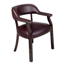 Office Star - Traditional Guest Chair w Wrap Around Back - Thick Padded Seat and Back. Jamestown Oxblood Vinyl upholstery. Mahogany Finish Wood Legs. 30.75 in. H x 25in. W x 24 in. D
