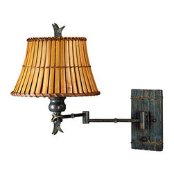 Kenroy Home - Kenroy Home 30454 Swing Arm Wall Sconce from the Kwai Collection - Tropical / Safari Swing Arm Wall Sconce From the Kwai CollectionKenroy Home's swing-arm lamps are available in a variety of styles, ranging from traditional to ultra-modern, and many come in coordinated collections, making it easy to match the lamp with an existing chandelier, torchiere, or table lamp. Like many of our sconces, Kenroy Home's swing-arm lamps don't necessarily require costly in-wall installation. Most can simply be mounted to the wall with two small screws and plugged into an electrical outlet. For those worried about the look of dangling cords, all of Kenroy's swing-arm designs include cord covers: long, thin strips that match the finish of the lamp and provide a clean-looking transition from lamp to outlet. For maximum camouflage, the lamps can be hard-wired to a junction box, allowing them to operate from a wall switch.Tropical flavor is sure to enter any room graced by the Kwai family. With split bamboo planks on the shade, and a Bronzed pyramid of bamboo at the base, this family oozes island flair.