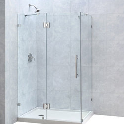 "DreamLine - DreamLine QuatraLux 34 5/16"" by 46 5/16"" Frameless Hinged Shower - The QuatraLux shower enclosure delivers an upscale modern look to your bathroom at an incredible value. Get the look of custom glass with premium 3/8 in. thick tempered glass and a sleek frameless design. The QuatraLux uses self-closing solid brass hinges for a secure closure. Install the QuatraLux on a custom tile floor or combine with a DreamLine shower base for a streamlined transformation. 34 5/16 in. D x 46 5/16 in. W x 72 in. H ,  3/8 (10 mm) thick clear tempered glass,  Chrome or Brushed Nickel hardware finish,  Frameless glass design,  Out-of-plumb installation adjustability: No,  Self-closing solid brass hinges and wall brackets,  Designed to be installed against finished walls (not directly to studs),  Door opening: 23 5/8 in.,  Stationary panel: 22 1/16 in.,  Return panel: 34 5/16 in.,  Reversible for right or left door opening installation,  Material: Tempered Glass, Aluminum ,  Optional SlimLine shower base available ,  Tempered glass ANSI certifiedNote: To minimize possible leakage, install shower head opposite of the shower opening pointed toward tiled walls, fixed panels or directly down the floorProduct Warranty:,  Limited 5 (five) year manufacturer warranty"