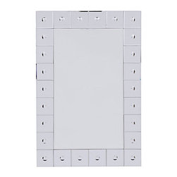 Z Gallerie - Simone Mirror - This mirror will captivate you with reflections that flicker from its uniquely mirrored frame. Perfectly carved out mirrored squares with beveled edges are adorned with circles, instilling this mirror with singular style and contemporary sensibility. FedEx shipping available. Standard Plus shipping is not available for mirrors.