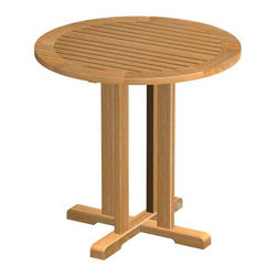 "Westminster Teak Furniture - Westminster Teak Bistro 30 in Dia Round Table - Finely crafted from 100 % premium teak, this highly functional 30"" diameter teak bistro table will accentuate any space, define any style and endure any weather. Let your imagination define the use since two to four guests can sit at this teak bistro table. Thicker cuts of wood used for the quality you have come to expect from Westminster Teak. Our teak bistro table is manufactured to a standard that is suited for commercial or residential use while harvested from eco-friendly renewable plantations."