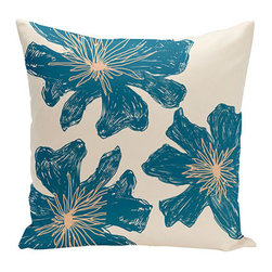 e by design - Floral Off-White and Blue 20-Inch Cotton Decorative Pillow - - Decorate and personalize your home with coastal cotton pillows that embody color and style from e by design   - Fill Material: Synthetic down  - Closure: Concealed Zipper  - Care Instructions: Spot clean recommended  - Made in USA e by design - CPO-NR17-Bisque_Teal_Peach-20