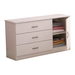 South Shore - South Shore Libra Dresser in Pure White - South Shore - Kids Dressers - 3050028 - This contemporary style dresser offers plenty of storage space within three drawers fitted with metal handles in a Pewter finish. Furthermore the adjustable shelf behind the door offers an ideal space for bulkier items such as sweaters or hoodies.