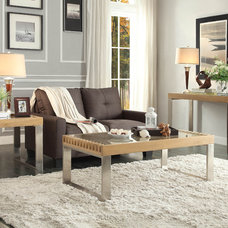 Contemporary Coffee Tables Homelegance Raeburn 3 Piece Coffee Table Set w/ Glass Insert in Natural